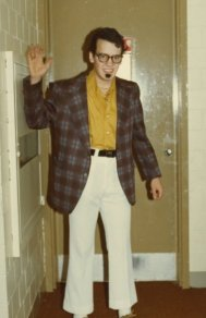 Circa 1983, in college, dressing as a nerd then going out on a date in character.