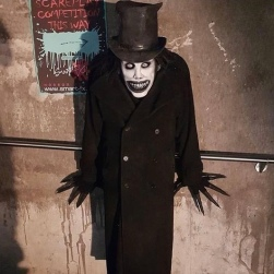 "I found this spectacular Babadook cosplay on the web and used it along with picture from the original ""Nosferatu"" and ""Cabinet of Dr. Caligary"" to place the angles and lines of the skeletons of the witches."