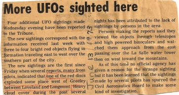 A number of UFO sitings near my home town, Greeley, Colorado. Very exciting!