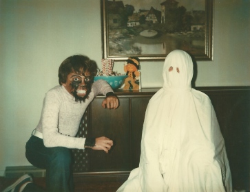 me, left, having Elmers Glued werewolf hair to my face.